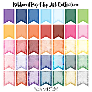 Simple Ribbon Flag Clip Art Collection