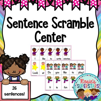 Simple Sentence Scramble Center with QR Codes
