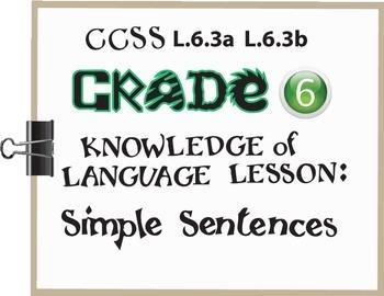 Simple Sentences Lesson/Activity Grade 6 CCSS Knowledge of