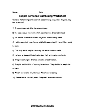Simple Sentences and Combining Worksheet