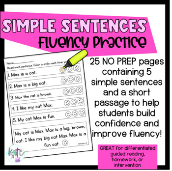 Simple Sentences fluency practice