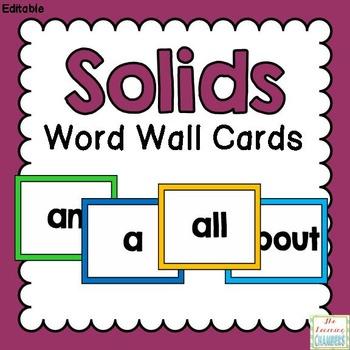 Simple Solids Word Wall Cards: Editable, Classroom Decor,