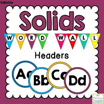 Simple Solids Word Wall Headers: Editable, Classroom Decor