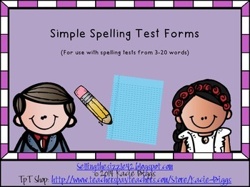 Simple Spelling Test Forms