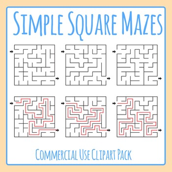 Simple Square Mazes Clip Art Set for Commercial Use