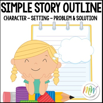 Simple Story Outline / Graphic Organizer: Problem, Steps t