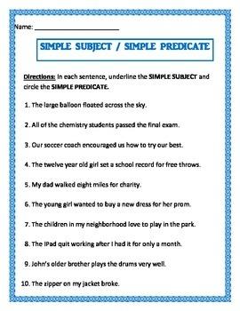 Simple Subject & Simple Predicate on same worksheet.