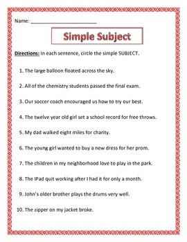 Simple Subject & Simple Predicate.Common Core.