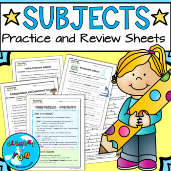 Simple Subject and Compound Subject Review worksheets -wit