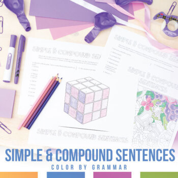 Simple and Compound Sentences Coloring Sheet