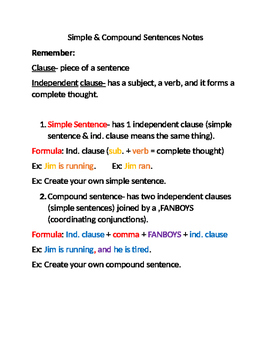 Simple and Compound Sentences Notes