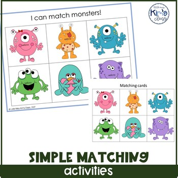 Simple matching task box/ independent work bundle/ file fo