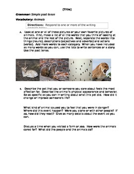 Simple past tense, Animals - Step 6 - Writing Prompts