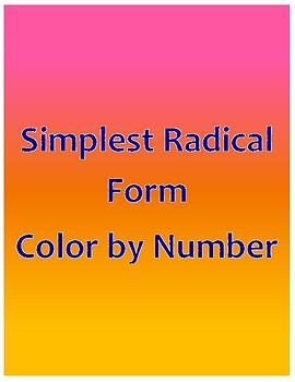 Simplest Radical Form Color by Number