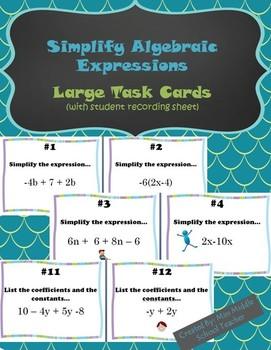 Simplify Algebraic Expressions Large Task Cards