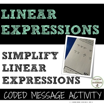 Simplify Expressions Coded message Activity with mixed exp