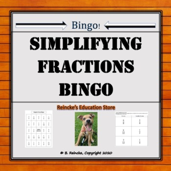 Simplify Fractions Bingo (30 pre-made cards!)