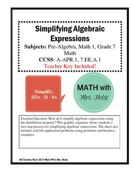Simplifying Algebraic Expressions - Guided Notes
