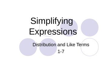 Simplifying Algebraic Expressions Power Point