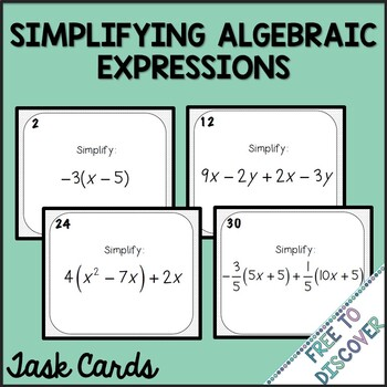 Simplifying Algebraic Expressions Task Cards (with Negatives)