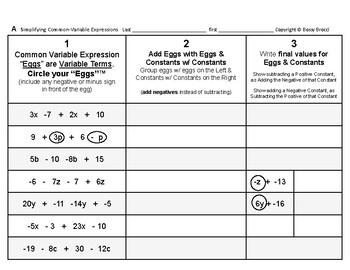 Algebra 01: Collecting & Simplifying Algebraic Terms & Exp