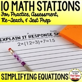 Simplifying Equations Test Prep Math Stations