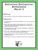 Simplifying Exponential Expressions Relay 1 (Game)