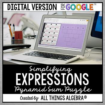 Simplifying Expressions Pyramid Sum Puzzle - GOOGLE SLIDES