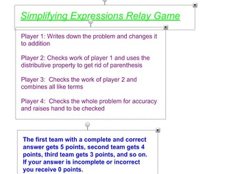 Simplifying Expressions Relay Game