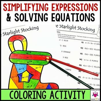 Simplifying Expressions & Solving Equations Christmas Holi