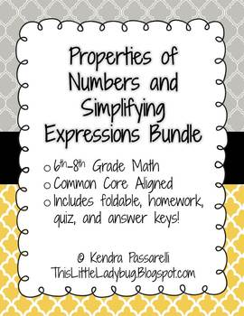 Simplifying Expressions and Properties of Numbers Bundle {