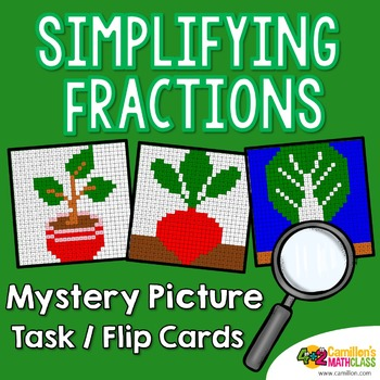 Simplifying Fractions Mystery Pictures Task Cards/Flip Cards