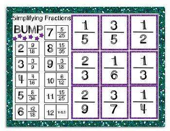 Simplifying Fractions BUMP Game FREEBIE