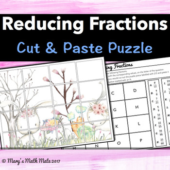 Simplifying Fractions: Cut & Paste Puzzle