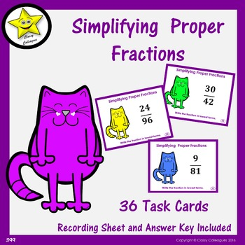 Simplifying Proper Fractions Task Cards