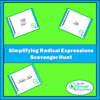 Simplifying Radical Expressions Scavenger Hunt