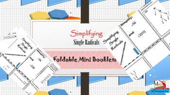 Radicals - Simplifying Single Radicals Foldable Notes