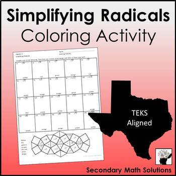 Simplifying Radicals Coloring Activity
