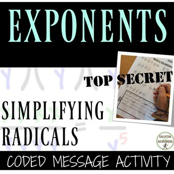 Simplifying Radicals Coded Message Activity  (Includes 2 m