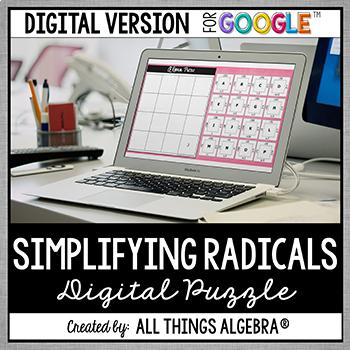 Simplifying Radicals Puzzle - GOOGLE SLIDES VERSION