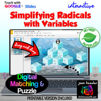 Simplifying Radicals with Variables with Google Slides