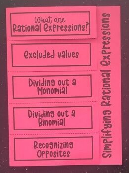 Simplifying Rational Expressions (Foldable)