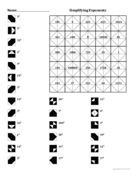 Simplifying Simple Exponents Coloring Worksheet