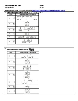 Simplifying Trigonometric Expressions: Web Check