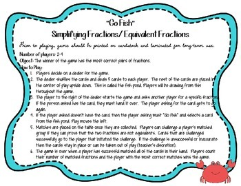 """Simplifying and Equivalent Fractions """"Go Fish"""" Game"""