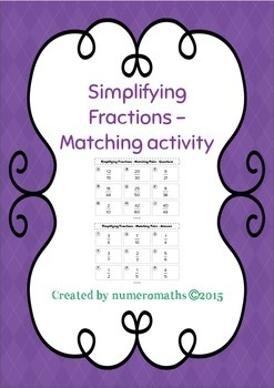 Simplifying fractions - Matching activity - Number - Math