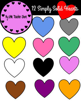Simply Solid Hearts Clipart-(Personal and Commerical Use)-