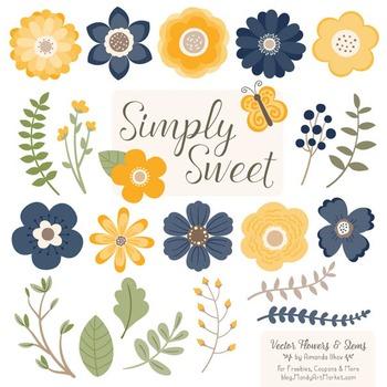 Simply Sweet Vector Flowers & Stems Clipart in Navy & Lemon