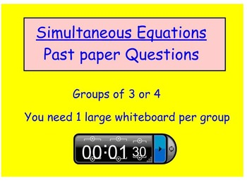 Simultaneous Equations Group Work Activity
