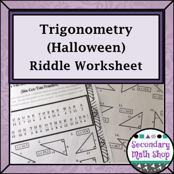 Right Triangles - Trigonometry - Sin Cos Tan Halloween Rid